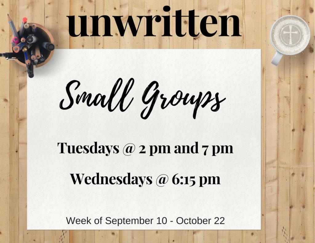 Unwritten small groups invite