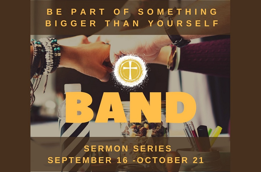 band sermon series banner showing hands doing fistbump