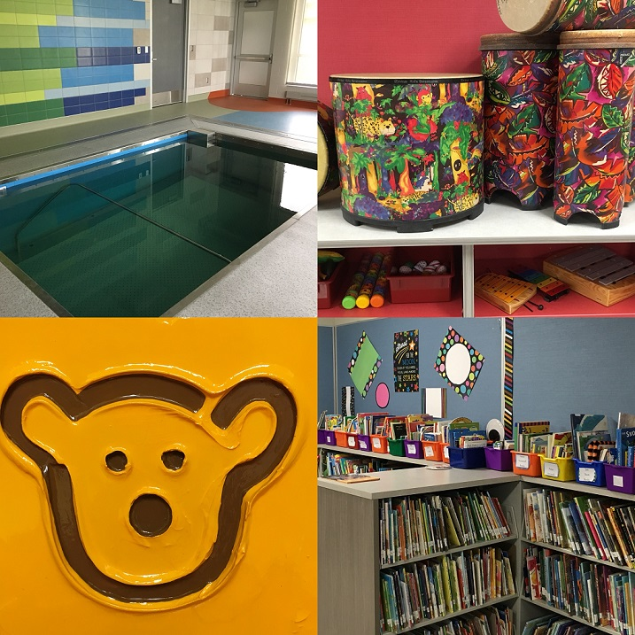 collage of images from jp lord school showing artwork library and pool