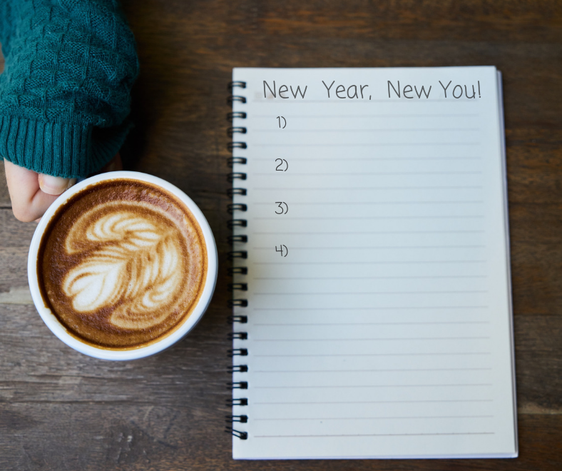 image of a coffee cup and notepad with wording new year new you written on it