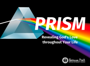 image of light flowing through a prism with the words revealing gods love throughout your life