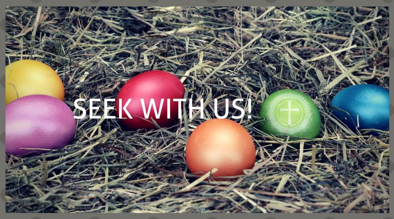 banner with easter eggs and words seek with us