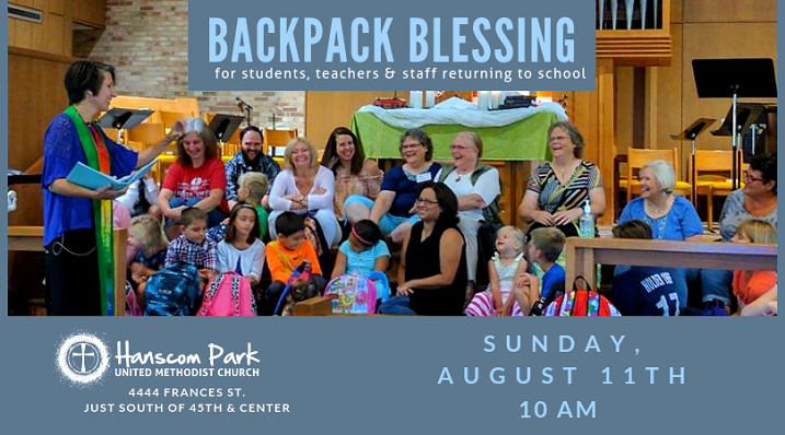 image of kids and teaches with text backpack blessing sunday august 11 at 10 am