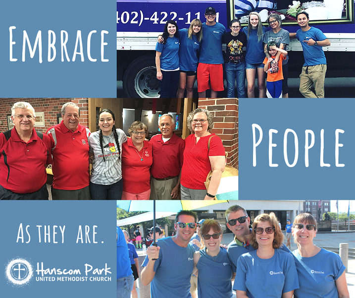 collage of hanscom members with words embrace people as they are