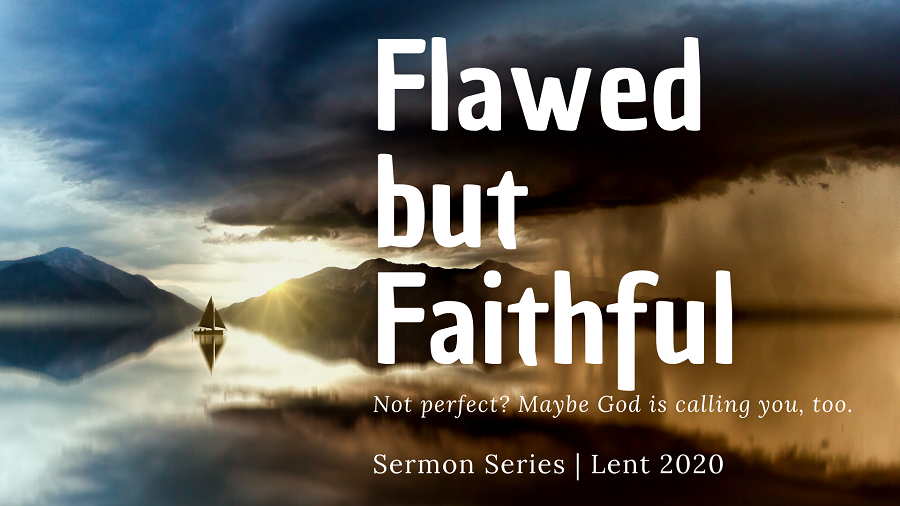 image of boat on water with the words flawed but faithful