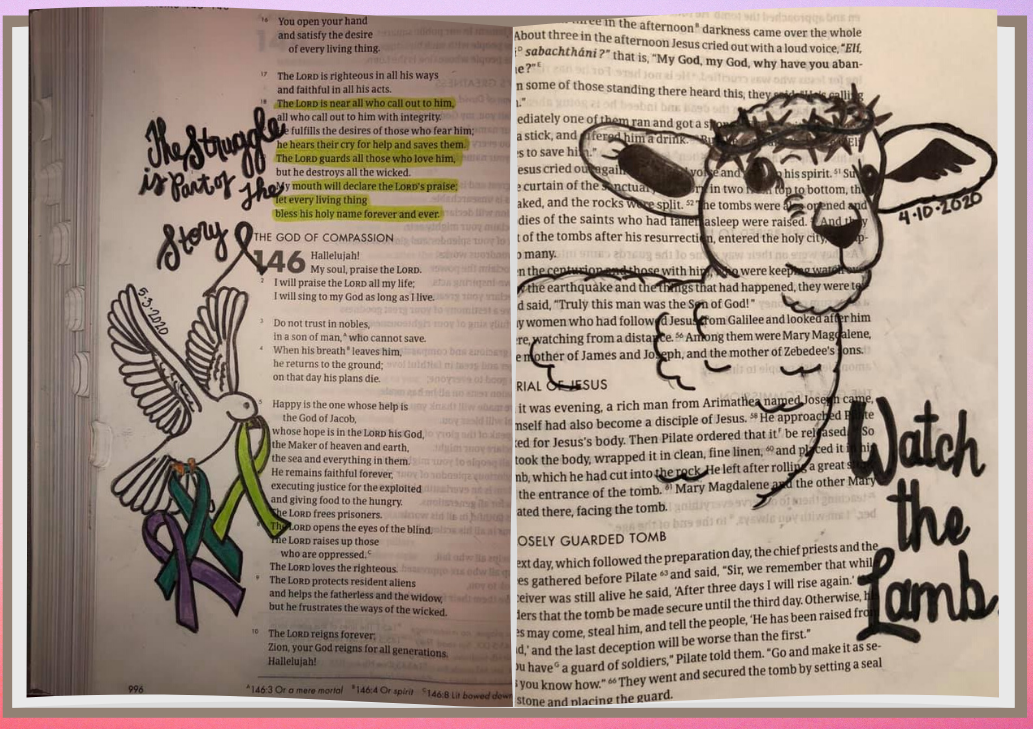 image of pages from bible with drawings of lamb and other doodles