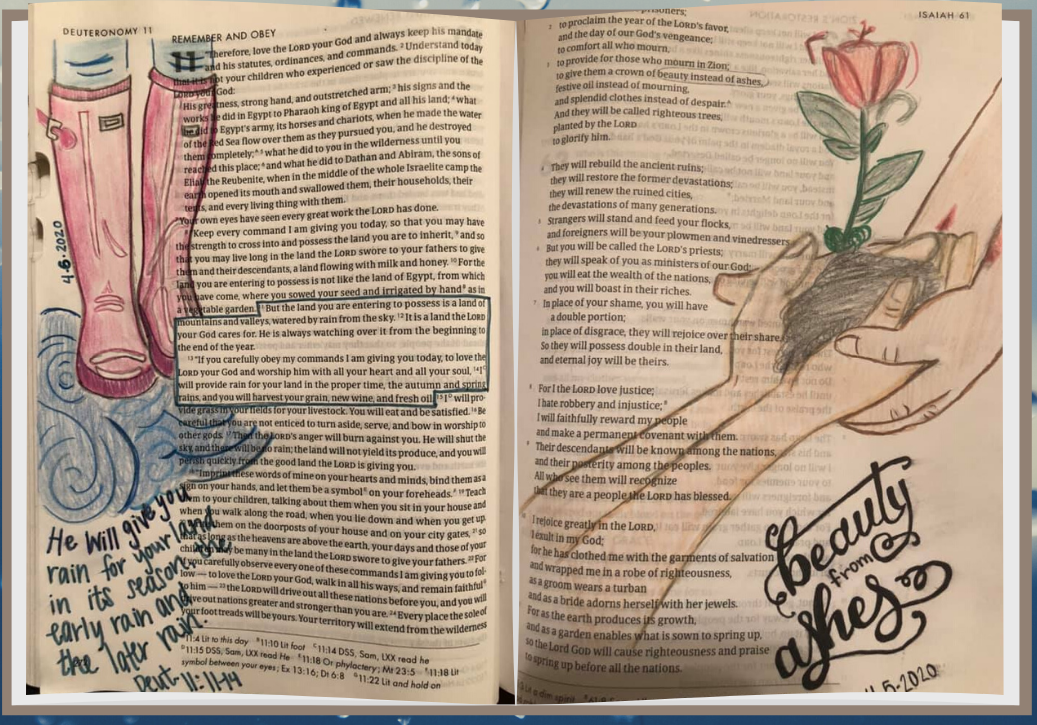page of bible illustrated with flowers and boots