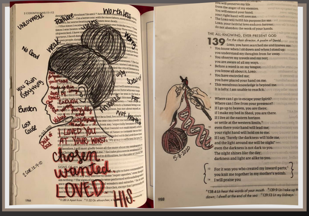 bible with illustrated page showing a woman with negative words swirling around her head