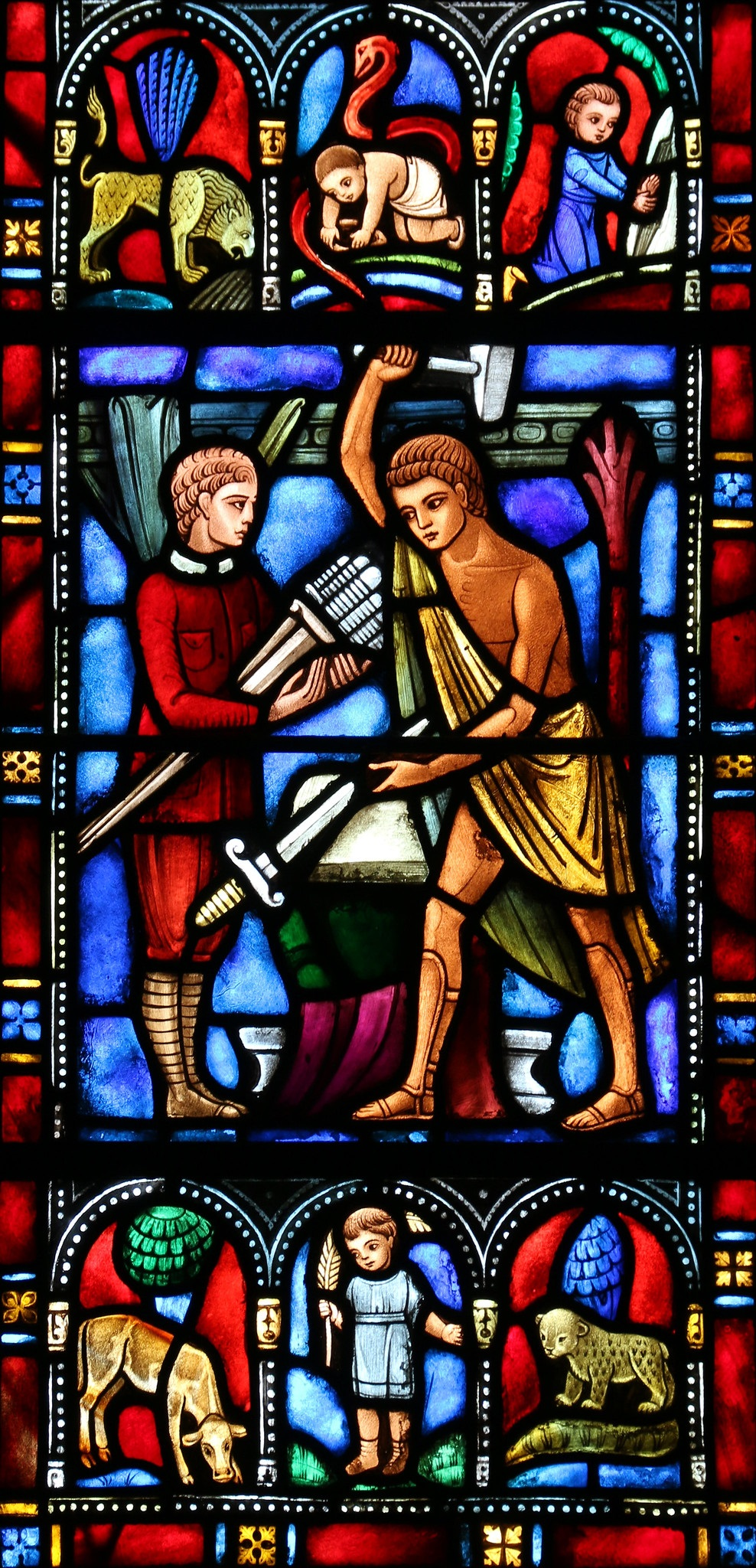 stained glass image of person with sword