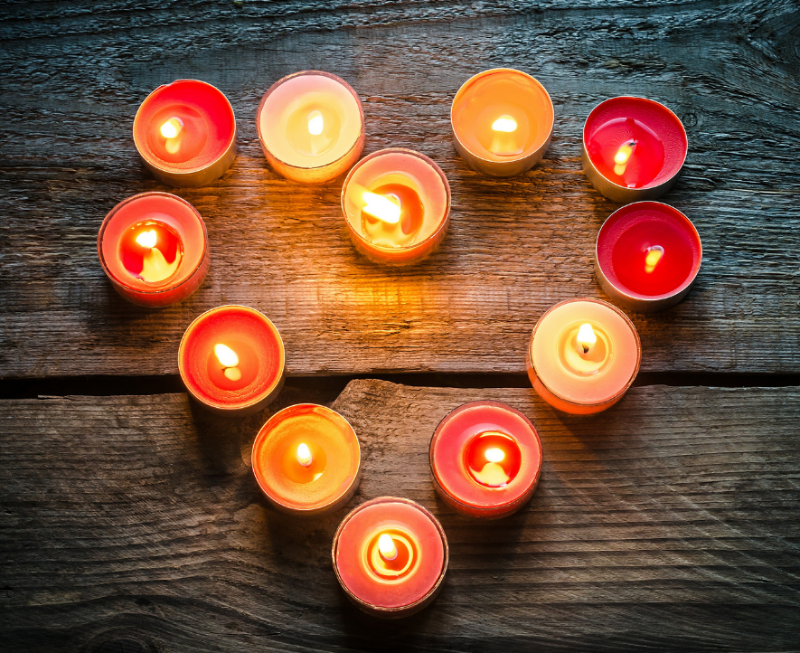 photo of candles in the shape of a heart
