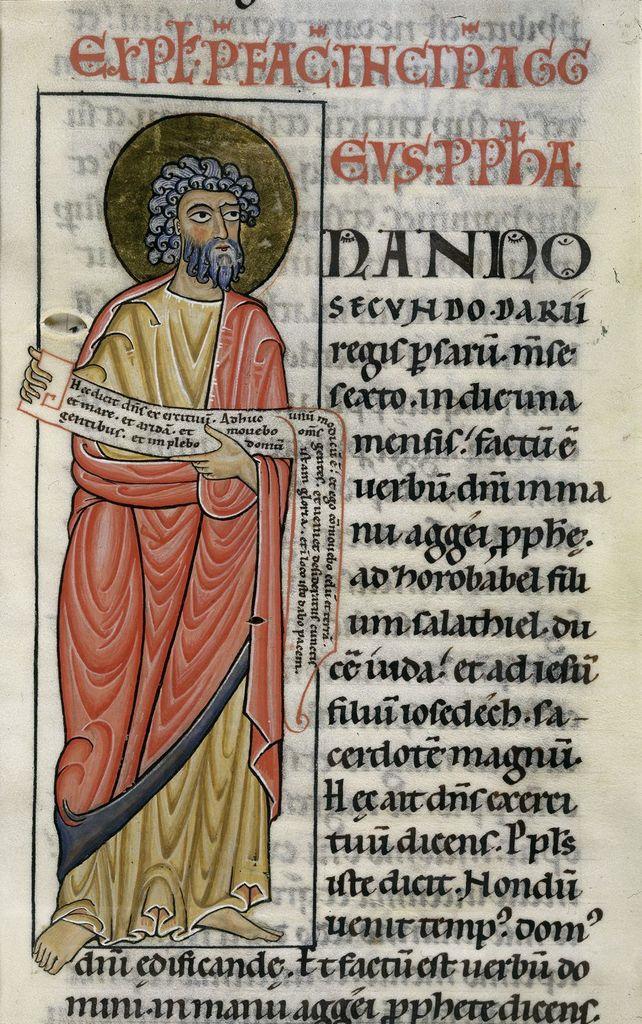 illuminated manuscript depicting haggai