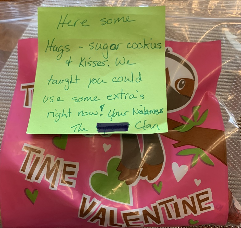 photo of cookies and post it note from neighbors